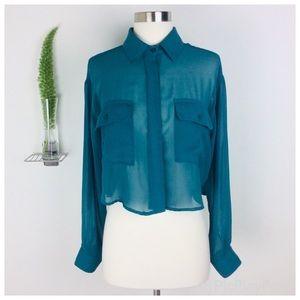 Lush Gorgeous Green Sheer Long Sleeve Crop Top (S)